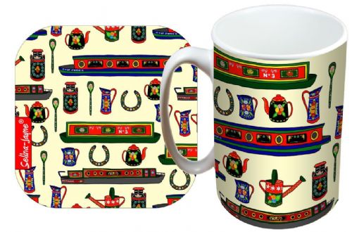 Selina-Jayne Canal Boats Limited Edition Designer Mug and Coaster Gift Set